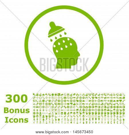 Brain Washing rounded icon with 300 bonus icons. Vector illustration style is flat iconic symbols, eco green color, white background.