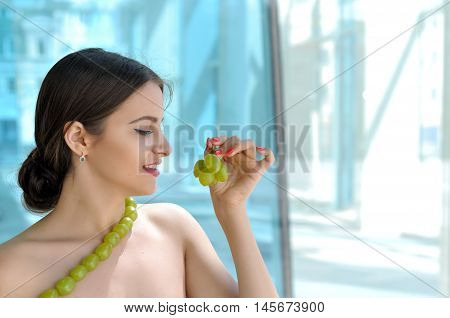 Girl Made A Necklace Of Green Grapes