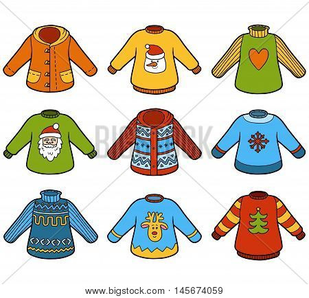 Vector color set of sweaters collection of Christmas pullovers