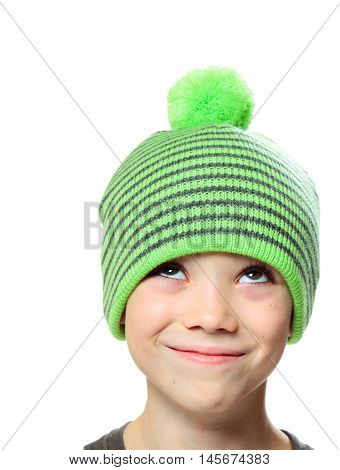 Hat clothing boy looking up on white background