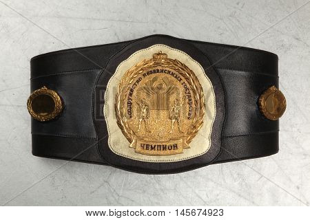 Belt Boxing champion. The Commonwealth of independent States. Ekaterinburg. Russia. 2014-02-03. Filming of championship belts in the Studio.