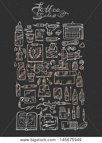 Hand draw vector tattoo icon set,  white and pastel line style on black background for tattoo salon and tattoo shop.