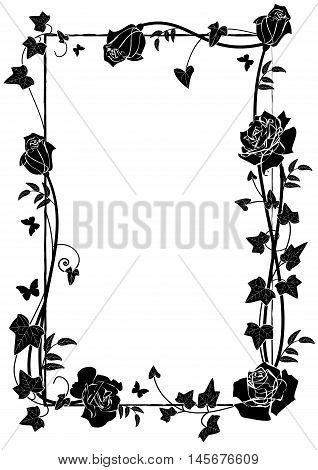 vector frame with roses ivy and butterflies in black and white