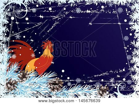 vector New Year 2017 background with rooster
