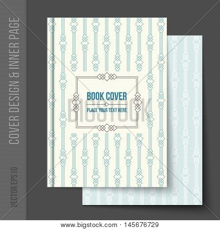 Bright cover design for business brochure, annual report, book cover, magazine cover, party poster. Light blank inner page added, with matching pattern. Vector template for brochure design. Linear geometric pattern on background.