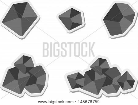 Abstract graphic set of flat coal icon