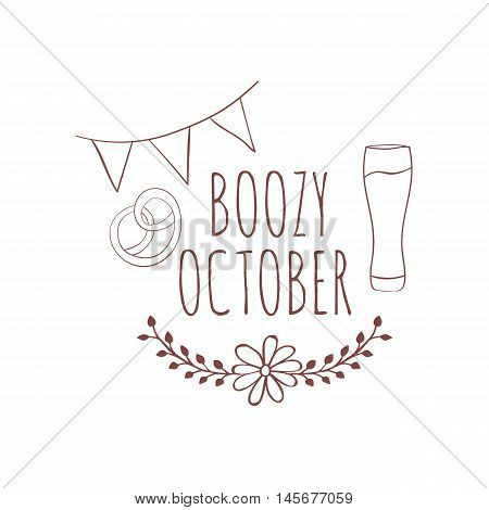 Hand drawn card with beer mug and pretzels with floral frame and flags isolated on white background. October. Boozy october.