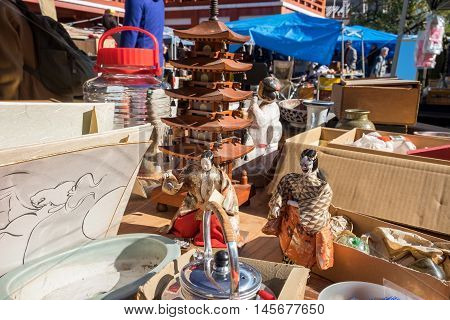 NAGOYA JAPAN - NOVEMBER 28 2015: The Flea Market at Osu Kannon temple in Nagoya Japan