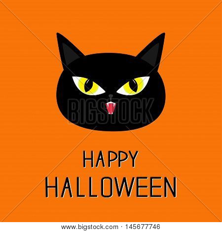 Black cat head. Yellow eyes fangs. Happy Halloween greeting card. Funny cartoon character. Isolated. Orange background. Flat design. Vector illustration