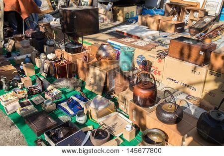 NAGOYA JAPAN - NOVEMBER 28 2015: The Flea Market at Osu Kannon temple in Nagoya Japan