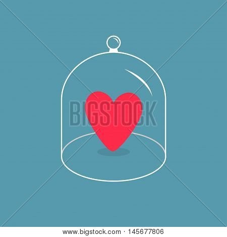 Pink heart. Glass bell cover cap. Half sphere lid dome with handle. Love card. Blue background. Vector illustration.