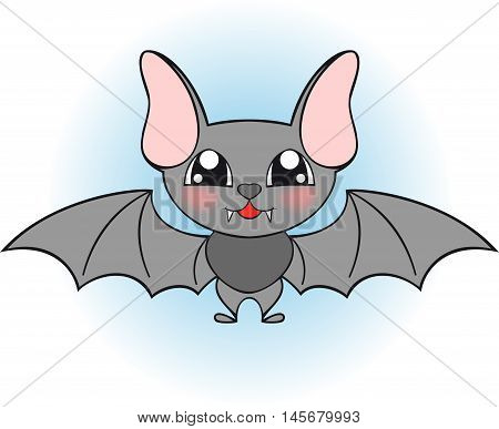 illustration of nice single bat in blue sky