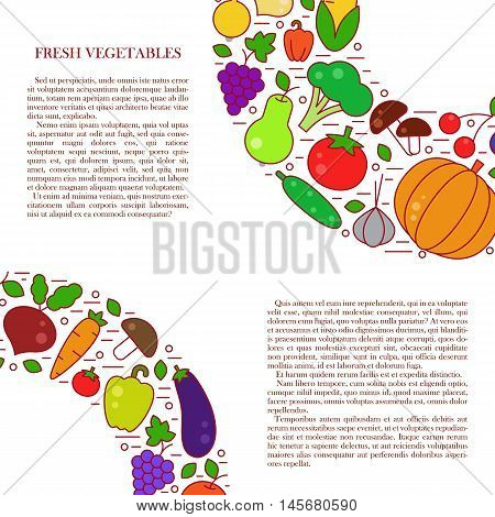 Fresh Vegetables Line Vector Illustration