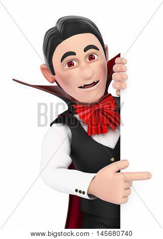 3d halloween people illustration. Funny monster. Vampire pointing aside. Blank space. Isolated white background.