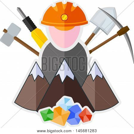 Flat icon with mountain miner and mining tools