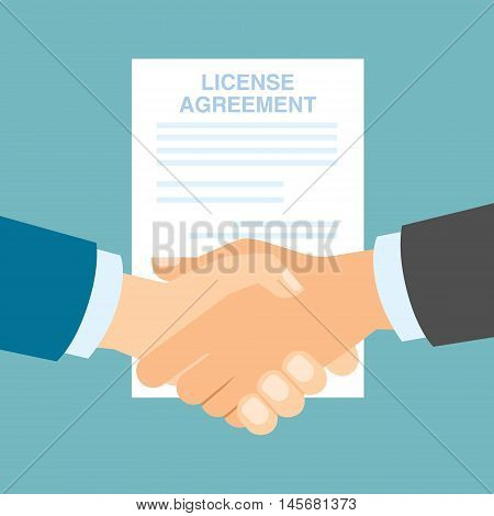 License agreement handshake. Men shacking hands for insurance of license, patent from copyriting.