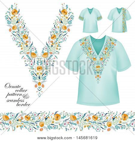 Vector design for collar shirts, blouses, T-shirt. Cute flowers. Colorful embroidery. Seamless border bonus. Yellow blue
