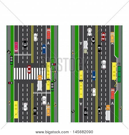 Road infographics. Plot road, highway, street. Intersection. With different cars. Green traffic light for cars. The loaded road maps and public transport. Top view of the highway. Vector illustration