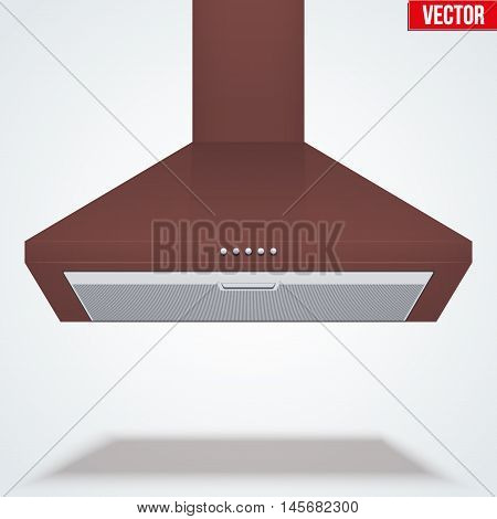 Kitchen range hood. Front view of chimney cooker hoods. Brass metal. Domestic equipment. Editable Vector illustration Isolated on white background.