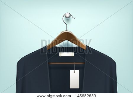 Vector Clothes Coat Brown Wooden Hanger with Blue Black Sweater Cardigan Jumper with Blank Tag Label Close Up Isolated on Background