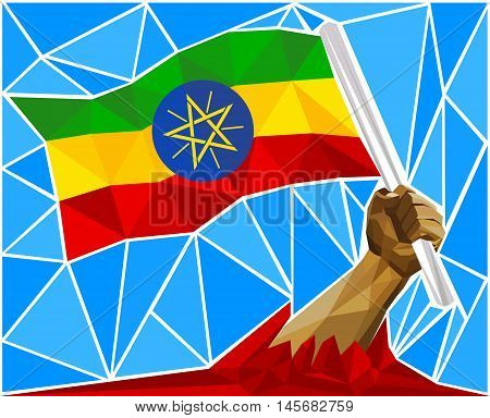 Patriotic Powerful Man Arm Raising The National Flag Of Ethiopia