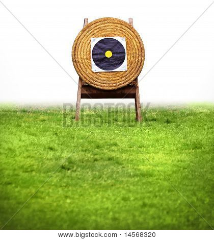 Archery Target Shooting Butt Isolated And Green Field