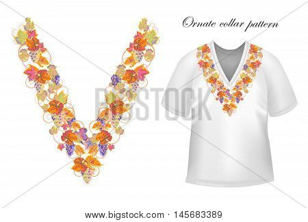 Vector design for collar shirts, blouses, T-shirt. Grapes branch. Colorful embroidery. Seamless border bonus. Orange blue