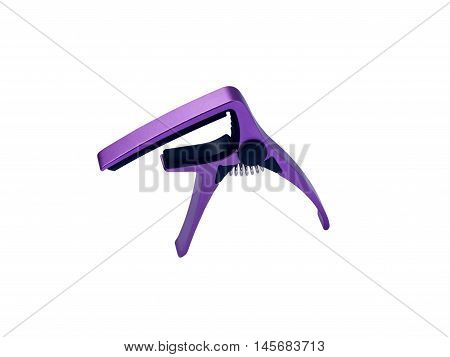Guitar purple capo on white background close up