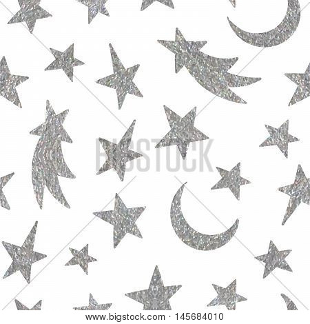 Silver textured cosmic seamless pattern of the star, moon and comet on white background. Design element for background, textile, paper packaging, wrapping paper and other. Vector illustration.