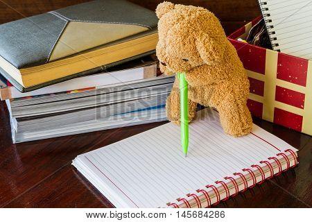 Teddy Bear Holding A Pen