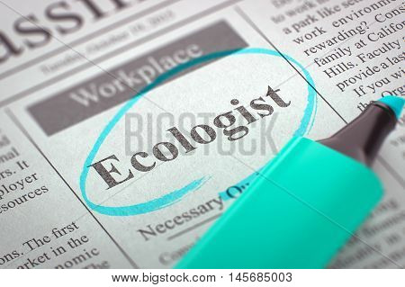 A Newspaper Column in the Classifieds with the Jobs Section Vacancy of Ecologist, Circled with a Azure Marker. Blurred Image with Selective focus. Concept of Recruitment. 3D Illustration.
