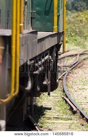 Nilgiri Mountain Railway. Tamil Nadu, India. Blue train. Unesco heritage. Narrow-gauge. Part of coach in motion
