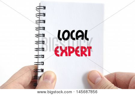 Local expert text concept isolated over white background