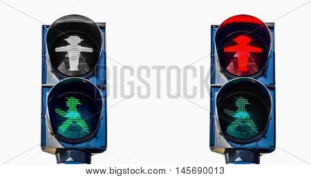 High dynamic range HDR East Germany Ampelmann traffic lights in Berlin - isolated over white background