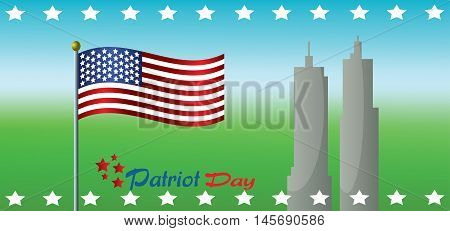Vector Patriot Day, with usa flag and twin towers over green and blue background.
