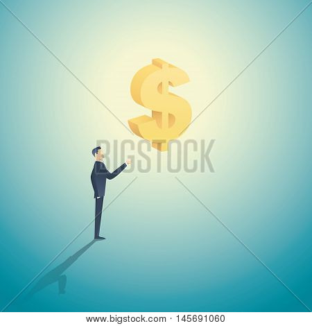 Business man holding 3d dollar sign as a symbol of investment, banks, money and greed, capitalism. Eps10 vector illustration.