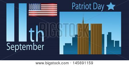 Vector Patriot Day, with usa flag and twin towers over blue background.