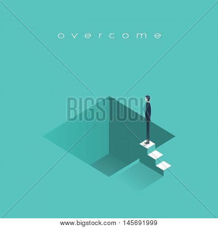 Failure in business vector concept illustration with depressed businessman standing ready to jump. Symbol of bankruptcy, professional problems, crisis. Eps10 vector illustration.