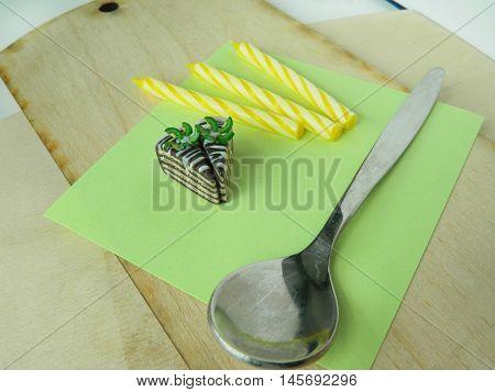 Miniature Polymer Clay Kiwi Cake On The Table