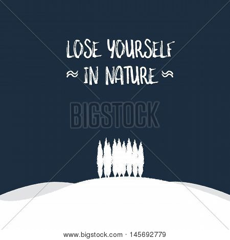Nature concept with forest on a hill vector landscape illustration. Outdoor beautiful scenic tranquil serene scenery. Eps10 vector illustration.