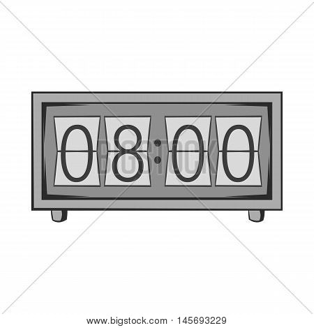 Electronic watch icon in black monochrome style isolated on white background. Time symbol. Vector illustration