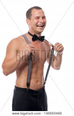 Laughing Stripper Stretches Suspenders On A White Background