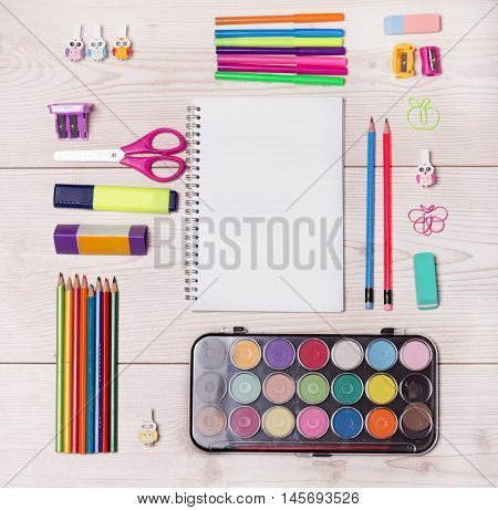 School Supplies On Desk