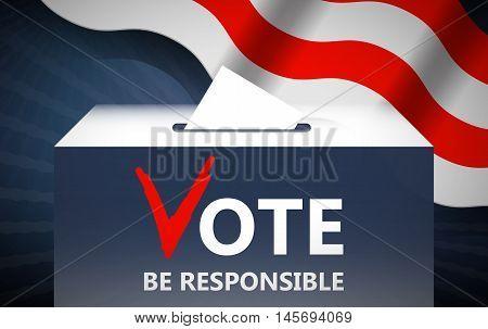 Vote vector illustration. Ballot and politics. Putting voting ballot in ballot box. Voting and election concept. Make a choice image.