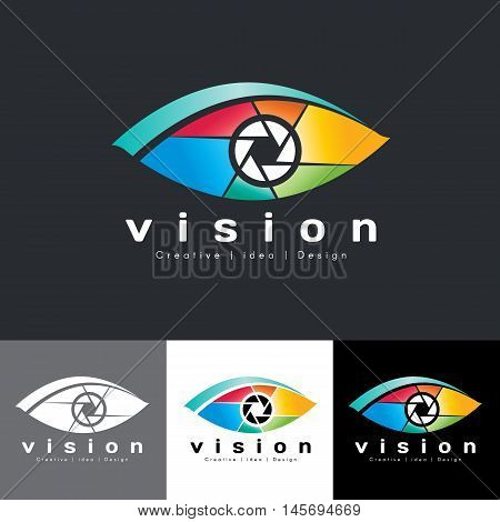 Eye vision logo vector - colorful tone is mean vision creative idea and design