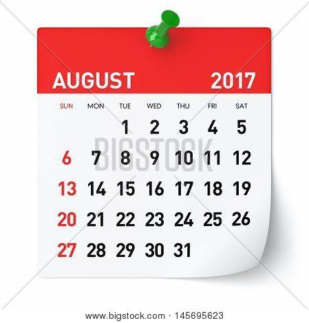 August 2017 - Calendar