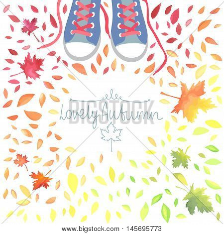 Autumn illustration with motley leaves and boots. Watercolor imitation in vector. Each object is separately.