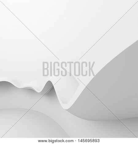 Abstract Architecture Background. 3d Illustration of White Empty Room. Modern Wave Wallpaper