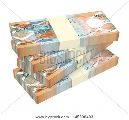 Barbadian dollar bills isolated on white background. 3D illustration.