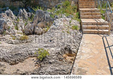 Staircase on the rocky beach in Istria, Croatian coast